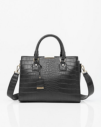 Croco Leather-Like Satchel