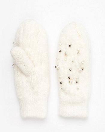 Embellished Knit Mittens