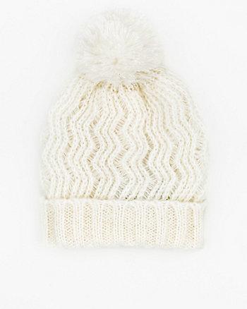 Crochet Knit Beanie with Pompom