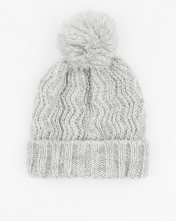 Crochet Knit Beanie with Pompom