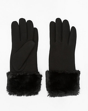 Faux Fur Knit Touchscreen Gloves