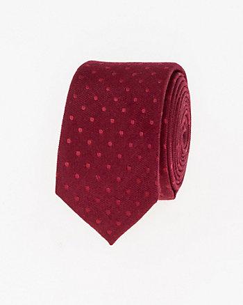 Dot Print Viscose Blend Skinny Tie