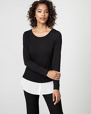 Knit & Woven Fooler Sweater