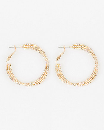 Etched Triple Row Hoop Earrings
