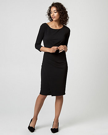 Textured Knit Crew Neck Sheath Dress