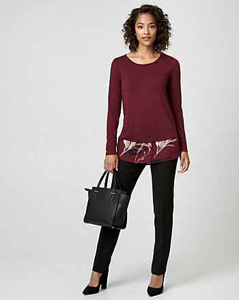 Leaf Print Knit & Woven 2-in-1 Top