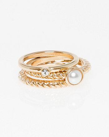Set of Three Pearl-Like Rings