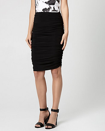 Knit Ruched Pencil Skirt