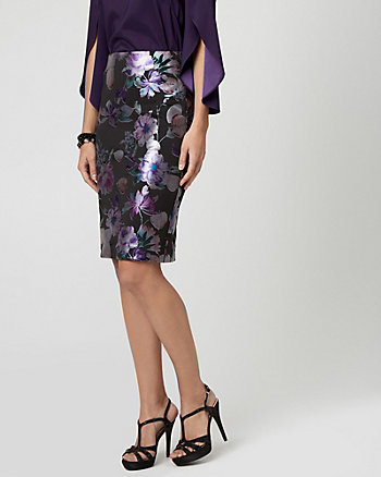 Floral Print Knit Pencil Skirt