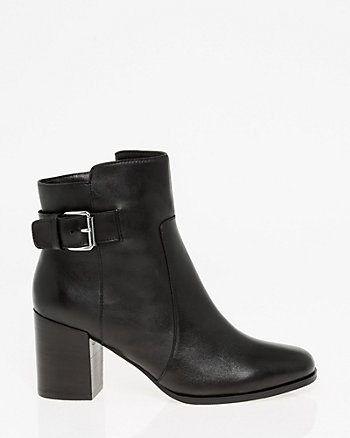 Leather Square Toe Ankle Boot