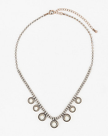 Gem & Pearl-Like Collarbone Necklace