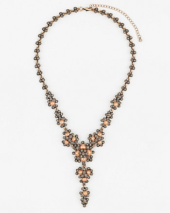 Gem & Pearl-Like Y-Necklace