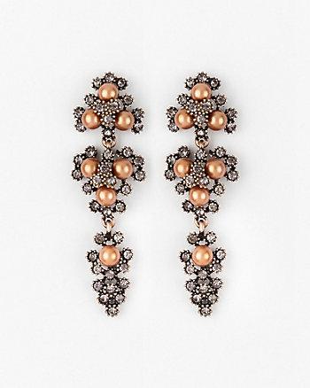 Gem & Pearl-Like Chandelier Earrings