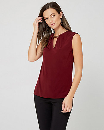 Knit Split Neck Sleeveless Top