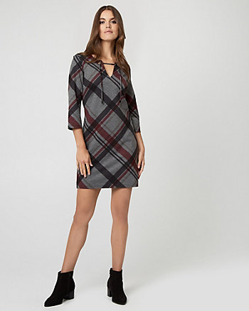Check Print Ponte Lace-Up Neck Dress