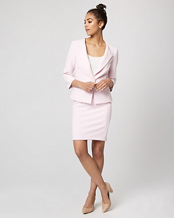 Knit Crêpe Button-Front Blazer