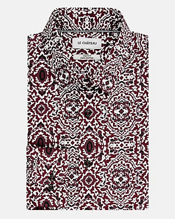 Geo Print Cotton Poplin Athletic Fit Shirt