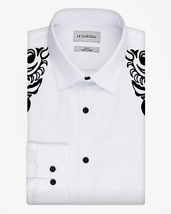 Flocked Cotton Blend Slim Fit Shirt