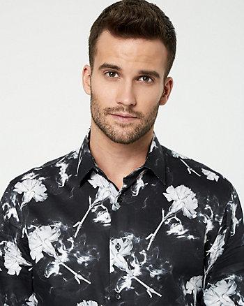 Smoke Print Cotton Tailored Fit Shirt