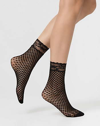 Ankle Fishnet Socks with Lace