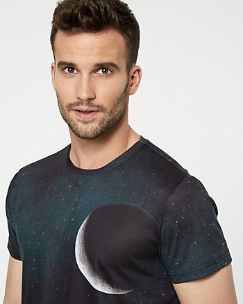 Moon Print Knit Crew Neck T-Shirt