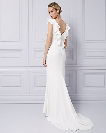 Twill Open Back Gown