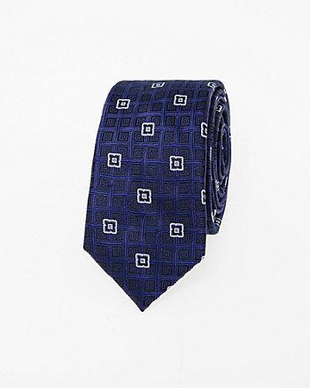 Geo Print Microfibre Skinny Tie