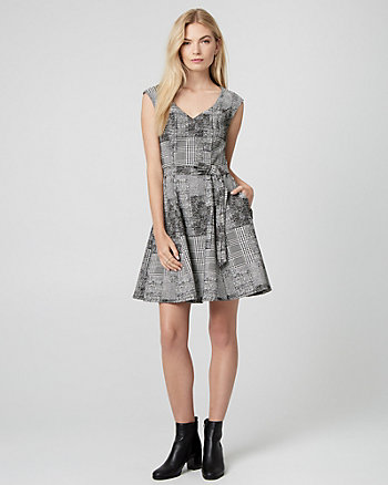 Glen Check Jacquard V-Neck Dress