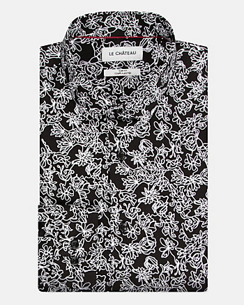 Floral Print Cotton Poplin Slim Fit Shirt