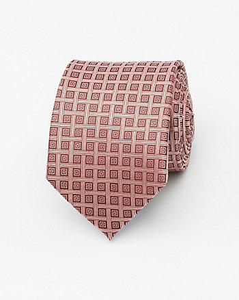 Geo Print Silk Skinny Tie