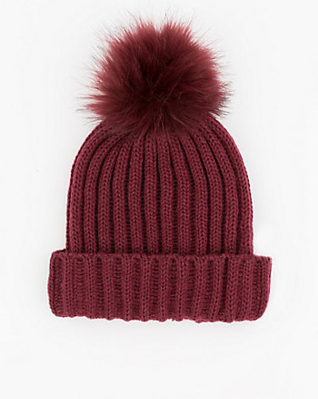 Knit Beanie with Faux Fur Pompom