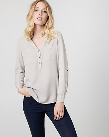 Twill Henley Blouse