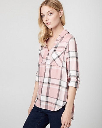 Check Twill Henley Blouse
