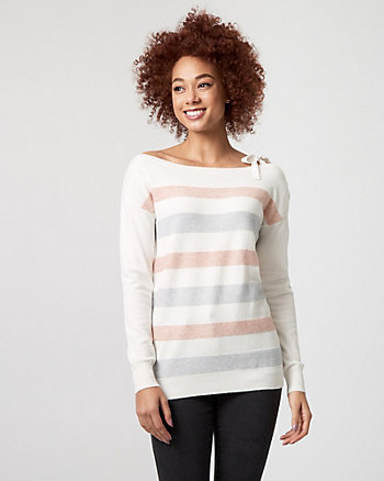 Stripe Brushed Viscose Boat Neck Sweater
