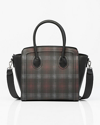 Check Saffiano Faux Leather Satchel