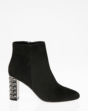 Jewel Embellished Block Heel Ankle Boot