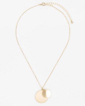 Brushed Circle Pendant Necklace