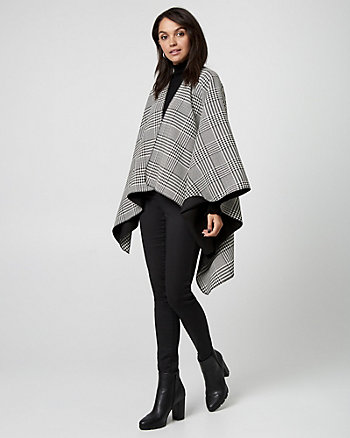 Glen Check Reversible Poncho