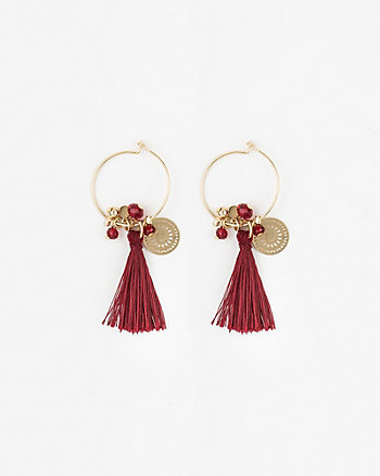 Metal Coin & Fringe Earrings