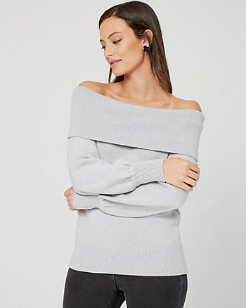 Brushed Viscose Foldover Neck Sweater