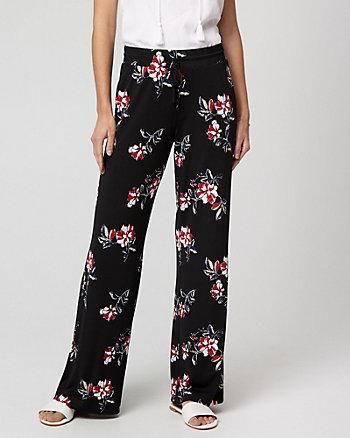 Floral Print Knit Wide Leg Pant