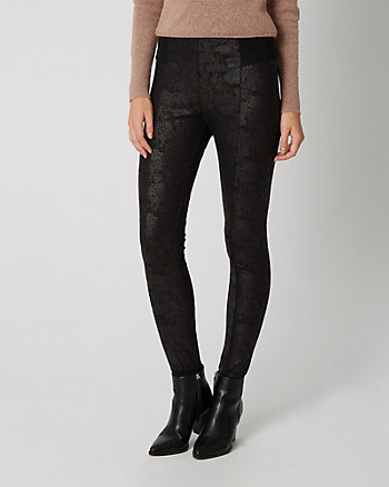 Wax Coated Ponte Skinny Leg Pant