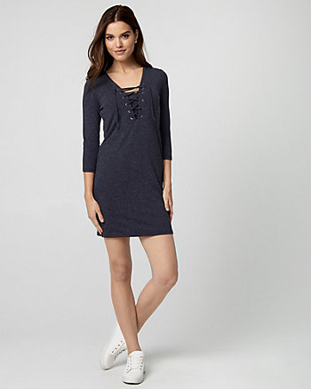 Knit Lace-Up Tunic Dress