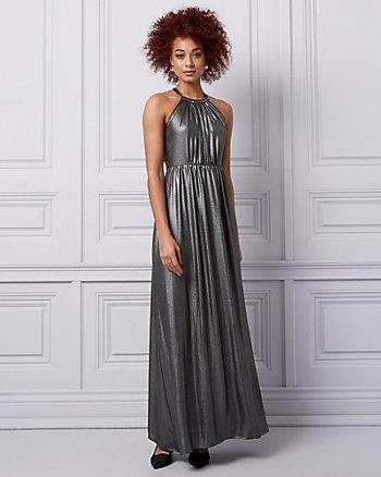 Foil Chiffon Halter Gown