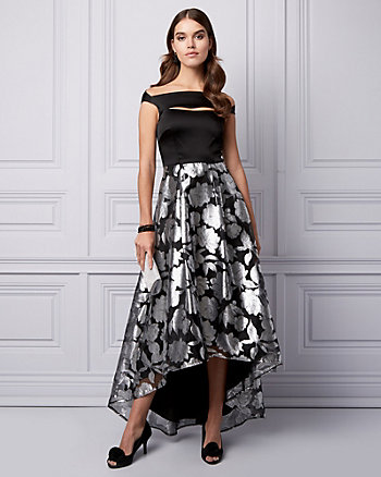 Jacquard & Chiffon Off-the-Shoulder Gown