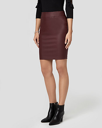 Wax Coated Tech Stretch Pencil Skirt