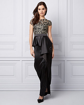 Metallic Embroidered Mesh Peplum Gown