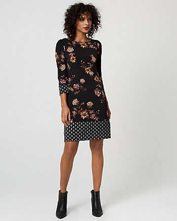 Floral Print Crew Neck Tunic Dress