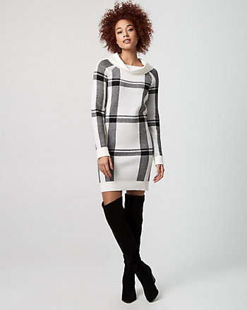 Check Print Cowl Neck Sweater Dress