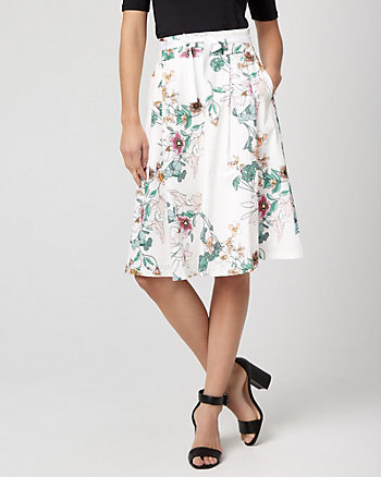 Floral Print Stretch Poplin Full Skirt